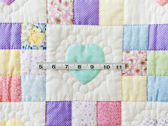 Pastel and White Hearts and Nine Patch Crib Quilt Photo 3