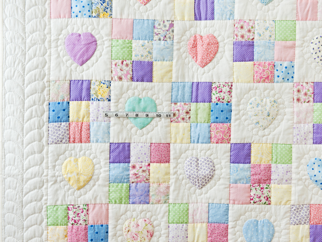 Pastel and White Hearts and Nine Patch Crib Quilt Photo 5