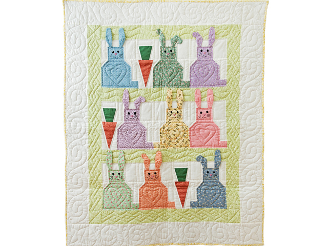 Green, Pastel and White Floppy Eared Bunnies Crib Quilt Photo 1