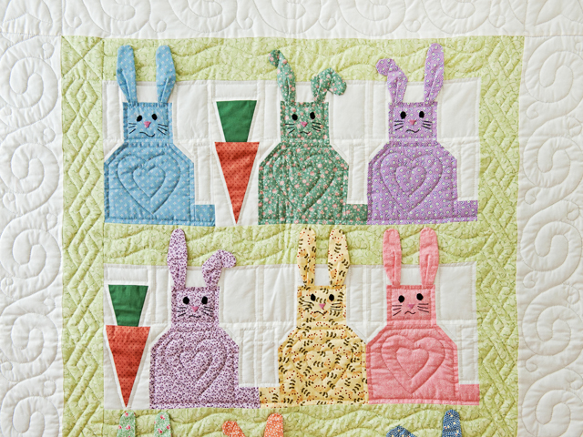 Green, Pastel and White Floppy Eared Bunnies Crib Quilt Photo 2