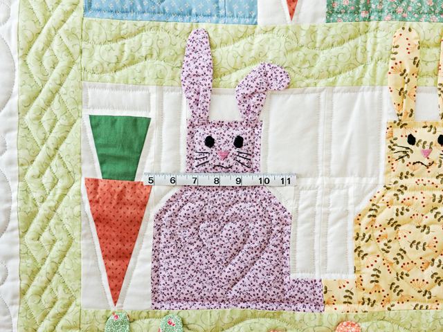 Green, Pastel and White Floppy Eared Bunnies Crib Quilt Photo 3