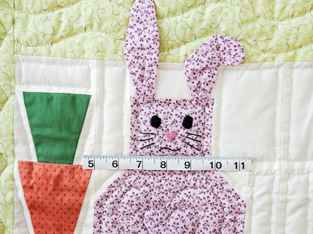 Green, Pastel and White Floppy Eared Bunnies Crib Quilt Photo 4