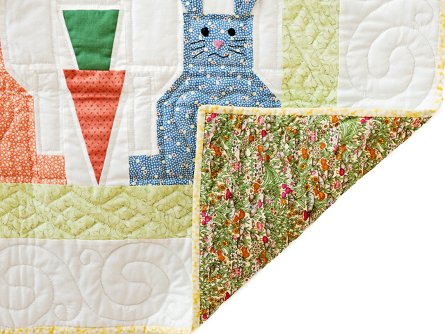 Green, Pastel and White Floppy Eared Bunnies Crib Quilt Photo 5