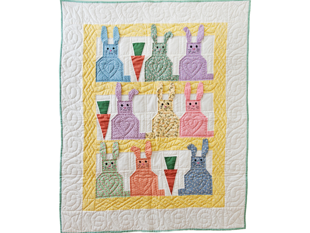 Yellow, Pastel and White Floppy Eared Bunnies Crib Quilt Photo 1
