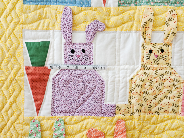 Yellow, Pastel and White Floppy Eared Bunnies Crib Quilt Photo 3