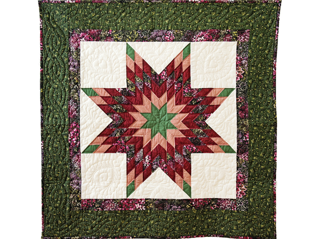 Green, Burgundy, Rose and Cream Lone Star Wall Hanging Photo 1