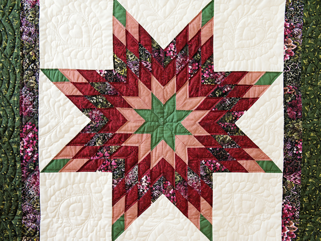 Green, Burgundy, Rose and Cream Lone Star Wall Hanging Photo 2