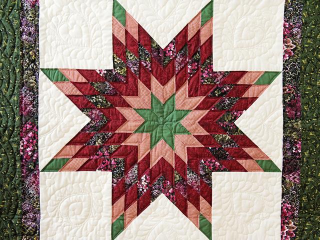 Green, Burgundy, Rose and Cream Lone Star Wall Hanging Photo 2