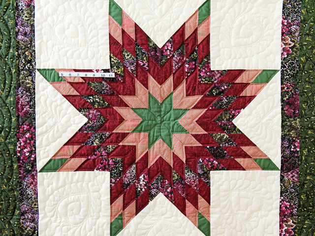 Green, Burgundy, Rose and Cream Lone Star Wall Hanging Photo 5