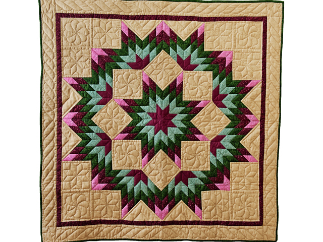 Dark Tan, Burgundy, Rose and Green Broken Star Wall Hanging Photo 1
