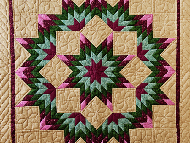 Dark Tan, Burgundy, Rose and Green Broken Star Wall Hanging Photo 2