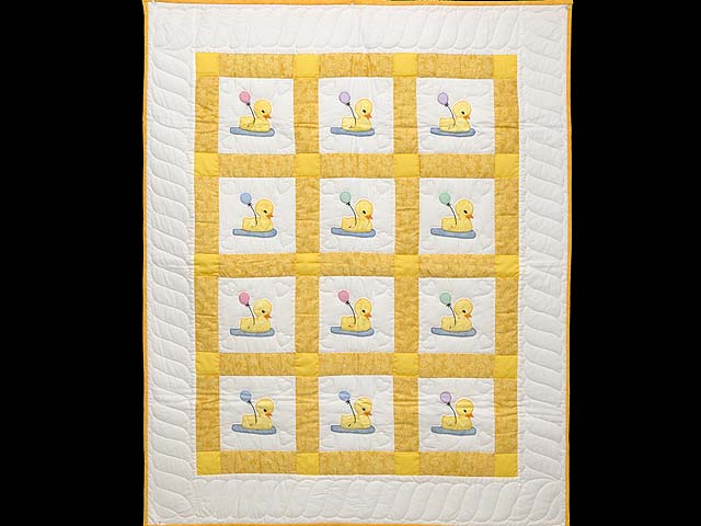 Yellow and Cream Lucky Ducks Crib Quilt Photo 1