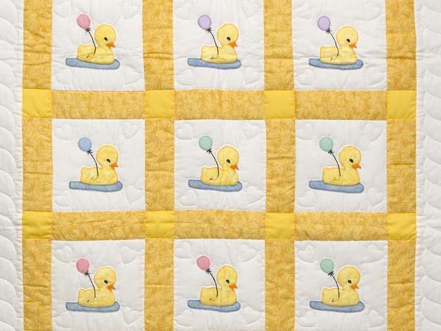 Yellow and Cream Lucky Ducks Crib Quilt Photo 2