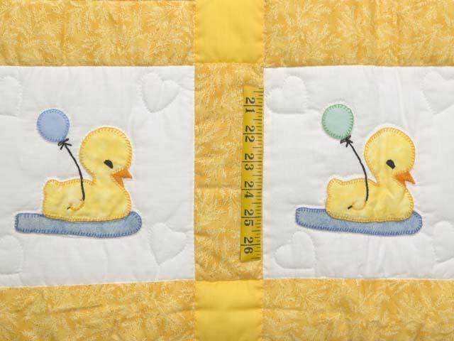 Yellow and Cream Lucky Ducks Crib Quilt Photo 3