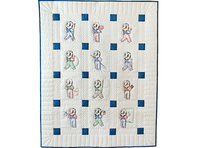 Navy and White Little Boy Embroidered Crib Quilt Photo 1