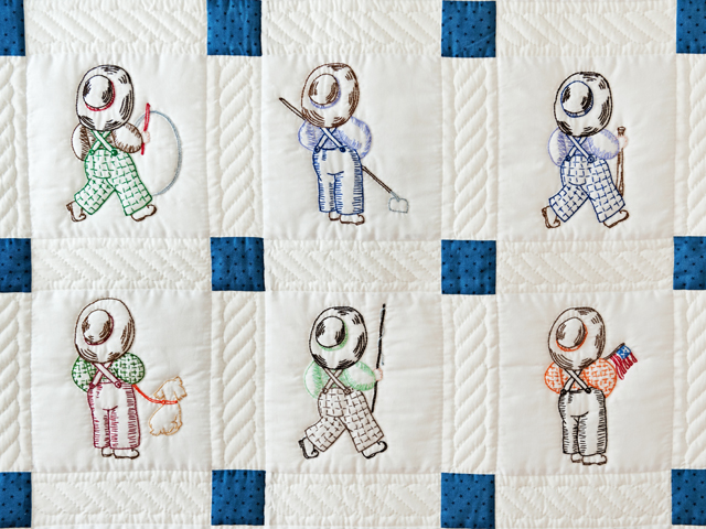 Navy and White Little Boy Embroidered Crib Quilt Photo 2