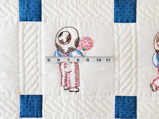 Navy and White Little Boy Embroidered Crib Quilt Photo 4