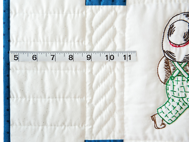 Navy and White Little Boy Embroidered Crib Quilt Photo 5