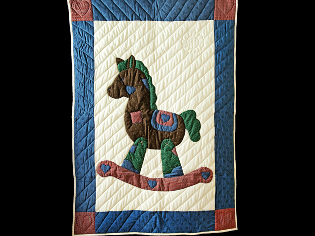 Navy and Multicolor Rocking Horse Crib Quilt Photo 1
