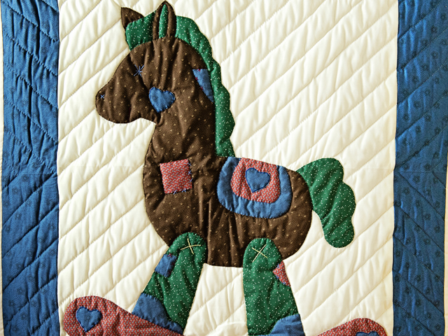 Navy and Multicolor Rocking Horse Crib Quilt Photo 2