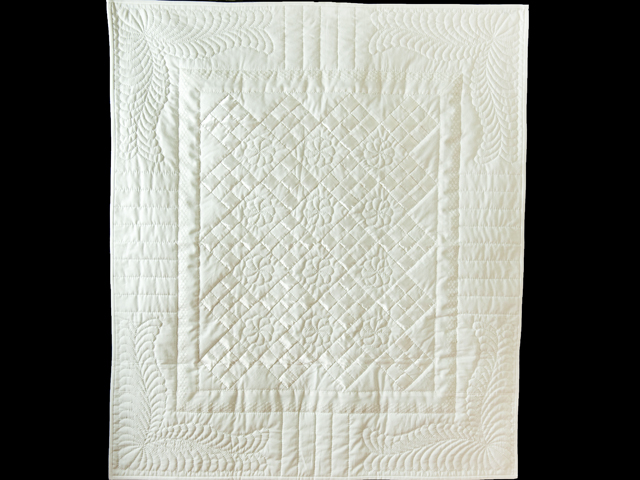 Pure White, Satin and Lace Crib Quilt Photo 1