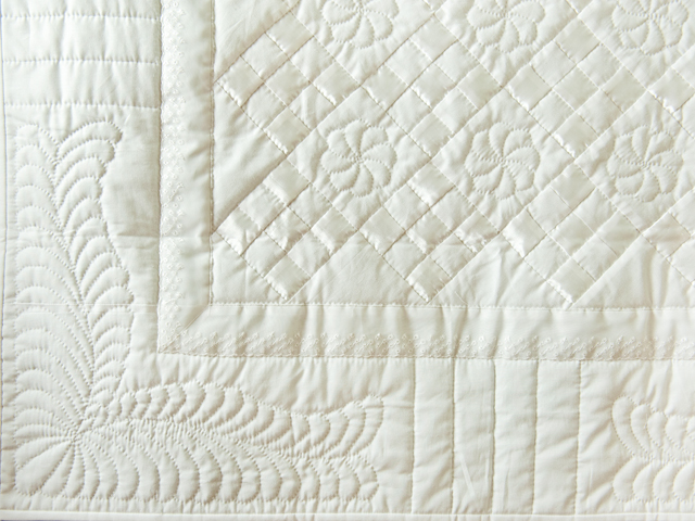 Pure White, Satin and Lace Crib Quilt Photo 2