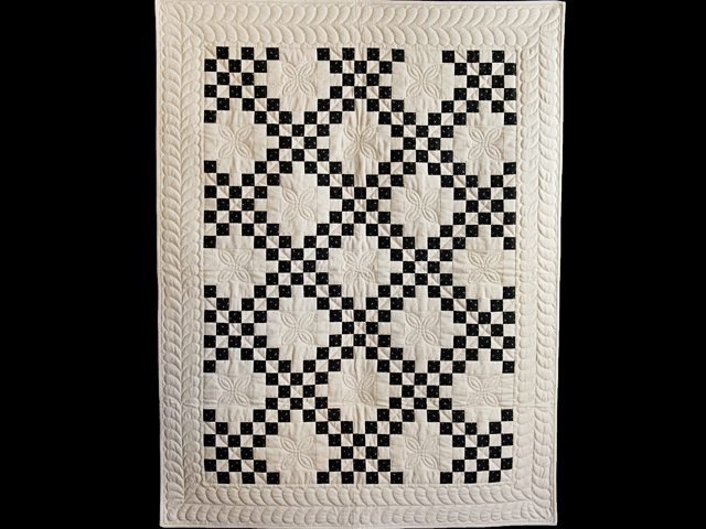 Black and Dark Tan Irish Chain Quilt Photo 1