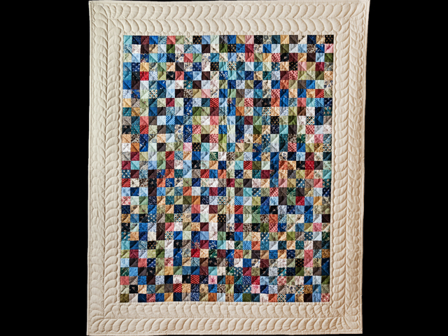 Blue, Multi & Tan Hit or Miss Quilt Photo 1