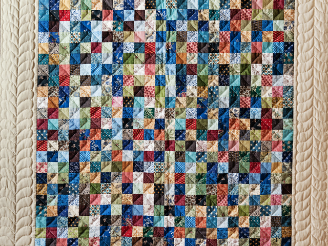 Blue, Multi & Tan Hit or Miss Quilt Photo 2