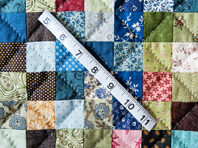 Blue, Multi & Tan Hit or Miss Quilt Photo 4