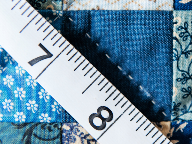 Blue, Multi & Tan Hit or Miss Quilt Photo 6