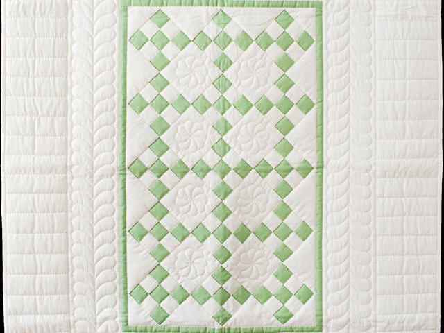 Spring Green and Cream Nine Patch Crib Quilt Photo 2