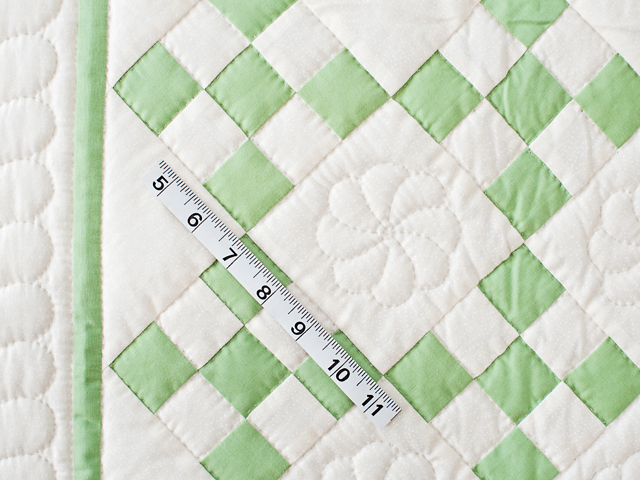 Spring Green and Cream Nine Patch Crib Quilt Photo 4