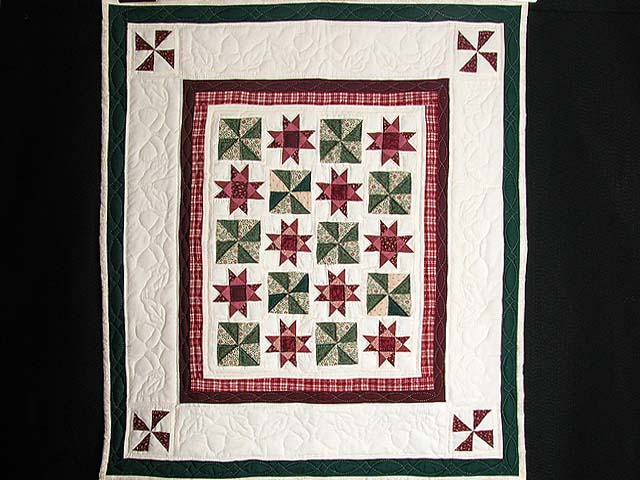 Burgundy and Green Stars and Pinwheels Wall Hanging Photo 1