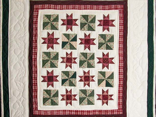 Burgundy and Green Stars and Pinwheels Wall Hanging Photo 2