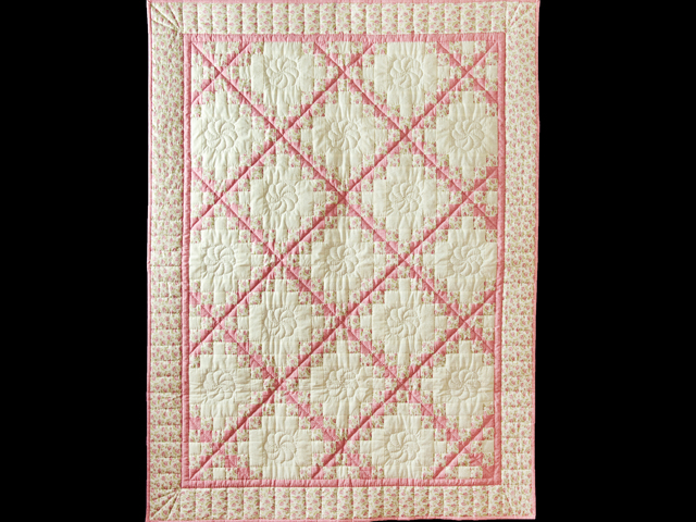 Princess Pink, Floral and Cream Irish Chain Quilt Photo 1