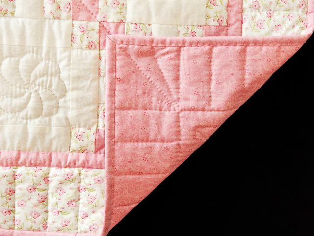 Princess Pink, Floral and Cream Irish Chain Quilt Photo 3