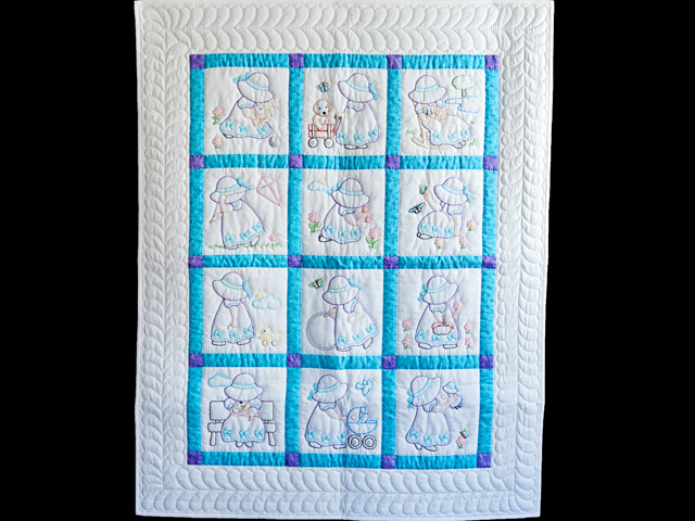 Blue, Lavender and White Hand Embroidered Crib Quilt Photo 1