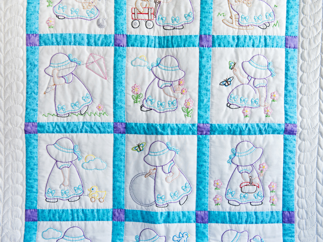 Blue, Lavender and White Hand Embroidered Crib Quilt Photo 2