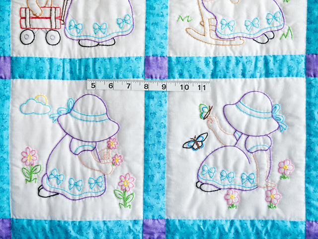 Blue, Lavender and White Hand Embroidered Crib Quilt Photo 3