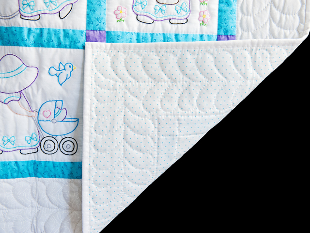 Blue, Lavender and White Hand Embroidered Crib Quilt Photo 5