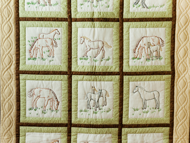 Beautiful Embroidered Horses Crib Quilt Photo 2