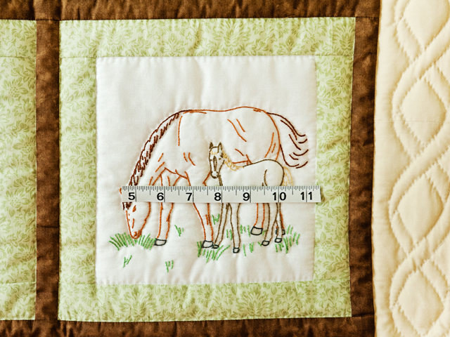 Beautiful Embroidered Horses Crib Quilt Photo 3