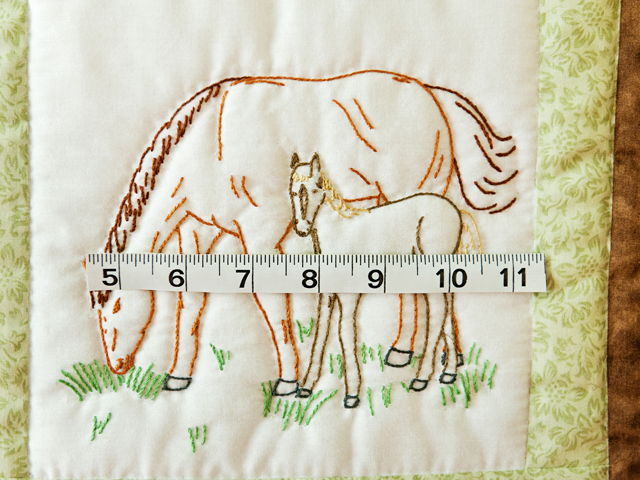 Beautiful Embroidered Horses Crib Quilt Photo 5
