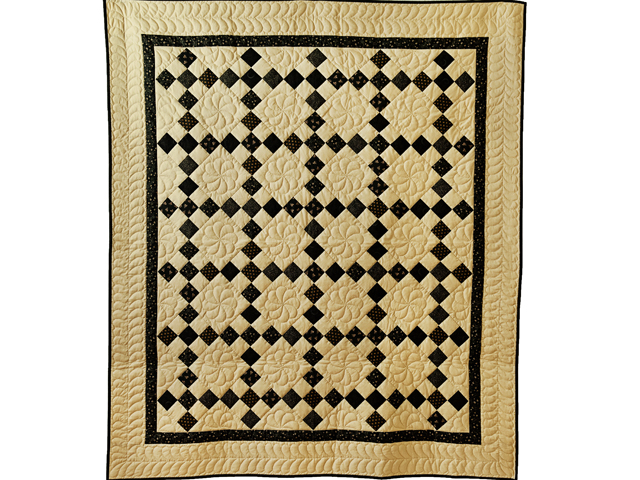 Gorgeous Black & Tan Nine Patch Throw Photo 1