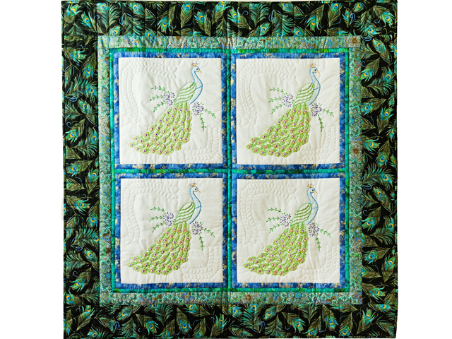 Black & Teal Embroidered Peacock Quilt Photo 1