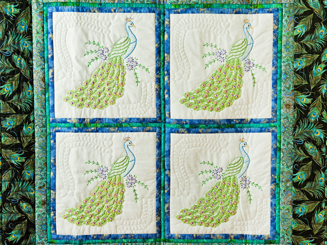 Black & Teal Embroidered Peacock Quilt Photo 2