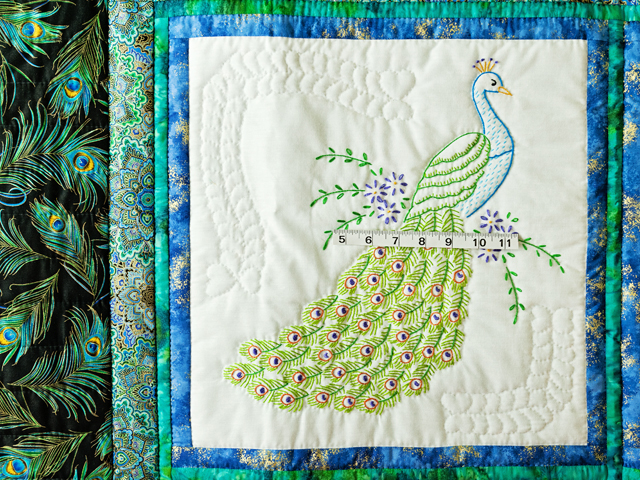 Black & Teal Embroidered Peacock Quilt Photo 3