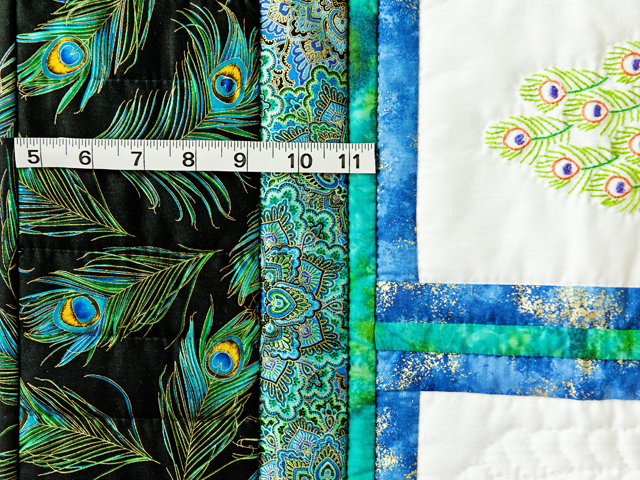 Black & Teal Embroidered Peacock Quilt Photo 4