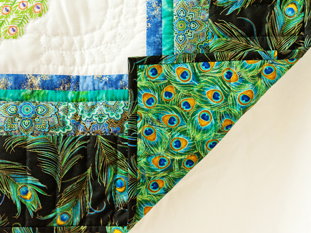 Black & Teal Embroidered Peacock Quilt Photo 5